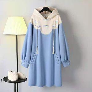 Pear Children's autumn and winter hanfu chinese style elements Weiyi skirt cheongsam improved dress waist closing temperament is thin