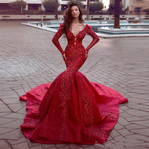 Gorgeous 2021 Red Mermaid Prom Dresses Long Evening Gowns Open Back Appliqued Lace Long Sleeve Formal Party Gown Elegant