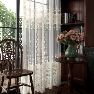 Single Panels Embroidered Tulle Curtains Kitchen Window Decoration White American Style Rustic Sheer Drapes for Living Room