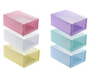 Plastic Shoe Storage Boxes Candy Color Stackable Shoes Box Flip Transparent Drawer Shoe Boxes Organizer Thicken Clear Shoe Boxes HWC4046