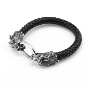 Charm Bracelets Wholesale Men Stainless Steel Leather Jewelry Male Wolf Head Charms Bangles Wristband Pulseira Punk