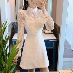 New 2020 Autumn 2 piece Set Women Sexy Lace Flare Sleeve Bottoming Shirt Top + Sweet Sleeveless Mink Velvet Dresses Suit