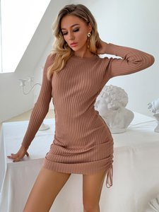 2020111915 Knitted Stripe Solid Autumn Winter Dress Sweater Drawstring Bodycon Dress 2020 O Neck Warm Long Sleeves Vintage Dresses