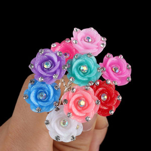 20Pcs Set Women Crystal Rhinestone Rose Flower Hair Pins Clips Wedding Bridal Bride Headdress Hairpins Hair Styling Accessories