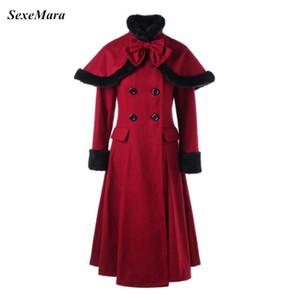 SexeMara New Christmas Themed Red Long Sleeve Woolen Overcoat Slim Trech Coat Winter Outfit Dress Vestidos