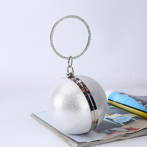 Spherical dinner bag simple personality round ball evening bag ladies PU party makeup clutch