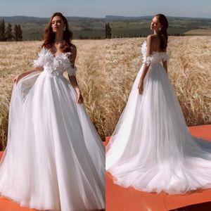 Latest Bohemian Wedding Dresses 2021 Off the Shoulder Lace Floral Flowers A Line Beach Bridal Gowns Custom Made Robe De Soirée De Mariage