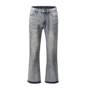 High Street lavado Splash Retro Pierna ancha Pantalones abuelidos para hombre Jeans casuales rectos para hombres Pantalones de mezclilla sueltos
