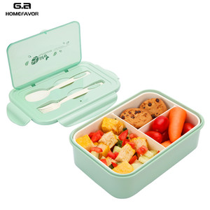 PP Lunch Box For Kids 2 or 1 Pcs Container Microwave Leakproof Food Fruit Storage Bento Box With Spoon And Fork New Z1123