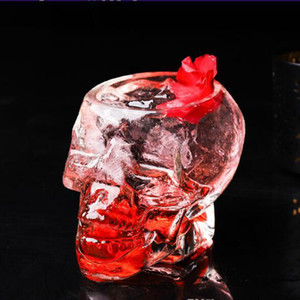 Transparent skull glass cups Crystal Skull Head Vodka Wine Shot Glass Drinking Cup Skeleton Pirate Vaccum Beer Glass Mug CLS338Y