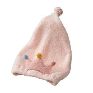 1pc Adorable Crown Design Girl Dry Hair Shower Cap Lovely Soft Quick Dry Cap Bath