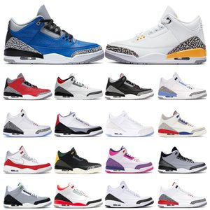 trainers mens basketball shoes 3 3s Laser Orange Fire Red Varsity Royal Mocha UNC Black Cement Chlorophyll sports sneakers outdoor size 7-13