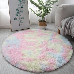 Nordic Style Round Carpet for Living Room Plush Area Rug for Bedroom Fluffy Rugs Bedside INS Floor Mat Non-slip Home Carpets