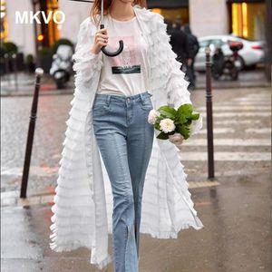 Coat women black white tassel long sleeve retro middle plus size cardigan windbreaker with belt ladies fashion moda feminina