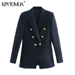 KPyTomoa mulheres moda com botões de metal blazers casaco vintage manga longa volta vents feminino outerwear chique tops 201110