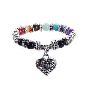 8 10mm Natural Gem Stone Mala Beads Strand Bracelets Rainbow Stone Heart Charm Chakra Bracelets Reiki Healing Prayer Jewelry