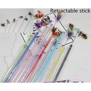 usd1.65 pc pet cat kitten playing toys cat teaser sticks fishing pole retractable sticks with bugs worm insect 20pcs lot Q1127