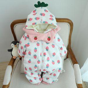 Infant plus velvet padded padded jacket, baby girl 0-12 months, cute winter jumpsuit, winter padded coat J1203