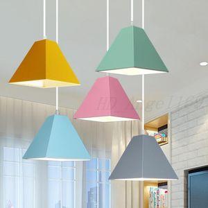 E27 colorful LED square chandelier post modern simplicity Nordic creative restaurant bedroom shop home lighting Y-Lan