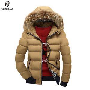 Novela ideas otoño invierno chaqueta hombres parka cubierta con capucha masculino abrigos casuales acolchado acolchado acolchado collar de piel de piel de faux