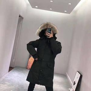Lujo Canadá marca invierno mujeres chaqueta 90% blanco ganso parkas collar de piel larga con capucha ropa exterior a prueba de viento abrigo de abrigo