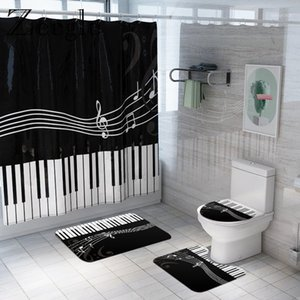 Black and White Piano Bath Carpet Shower Curtain Nordic Style Bathroom Foot Pad Home Decoration Bath Curtain Shower Floor Mat1