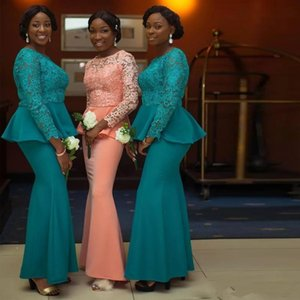 2021 Aso Ebi Lace Bridesmaids Dresses Mermaid Lace Long Sleeve With Maid Of Honor Wedding Guest Prom Party Wears Plus Size Floor Length