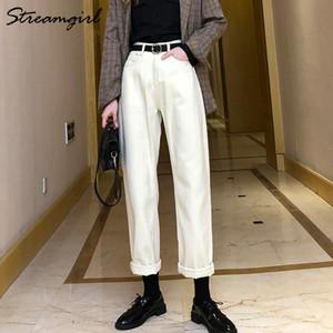 StreamGirl Women's Boyfriend para los pantalones de mezclilla otoñal sueltos mujeres negro vintage mamá jeans cintura alta beige