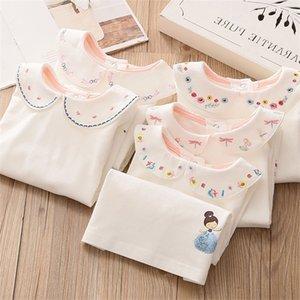 Baby Girl Cartoon Botoming T Shirt 2020 Autumn Winter New Toddler Girl Peter Pan Collar T Shirt Kids Embroidery Print T Shirt Z1121