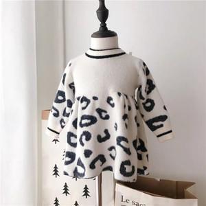Girls Baby Robe Automne Hiver Children's Léopard Print Robe Girls Casual Mode Plissé A-Line Robes Robes à col de bateau Vente chaude