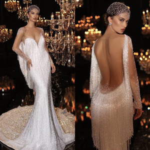 2021 New Mermaid Wedding Dresses Sequins Beaded Tassels Sheer Long Sleeves Sexy Luxury Bridal Gowns Shiny vestido de novia