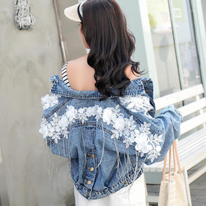 Zoki Fashion Lace Women Denim Jacket Spring Slim Barcelones Ladies Jeans Abrigo corto Button Streetwear Blue Harajuku Ropa1