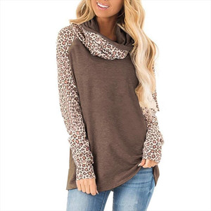 Leopard Printed Long Sleeve Tshirt Women Heap Collar Autumn Garment 2019 New Casual Tee Shirt Top Women Clothes 5XL Big Sizes