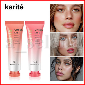 Karite Face Makeup Liquid Blusher 6 Color Silky Lasting Natural Cheek Kiss Rose Peach Red Color Shimmer Blush Cream Cosmetics