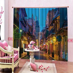 Занавес Drapes Custom Street Consting City Night Night Scenery Window Po Print для гостиной спальня полиэстер из ткани