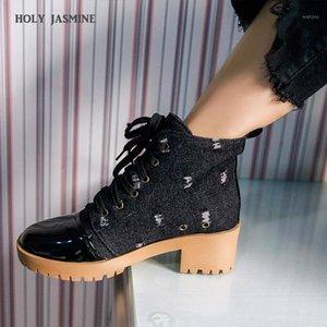 Holy Jasmine Women Botines NUEVO otoño / invierno cordón de encaje de mezclilla estilo temperamento moda estilo simple y versátil 2020 ankle1
