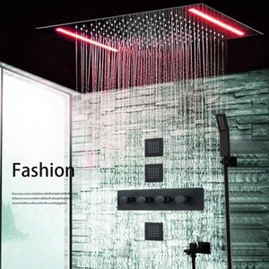 2020 Luxury Concealed Shower Panel 500*360mm Large Rainfall Led Shower Head Set Thermostatic High Flow 70L Brass Valve Faucet Mixer Tap