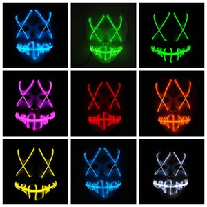 Face Mask EL Wire LED Ghost Masks Purge Election Year Masquerade Mask Scary Cosplay Masks Halloween Costume PartySupplies10Designs LQPYW1232