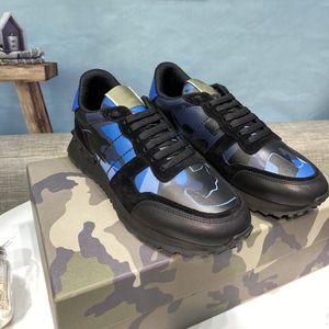 최고 품질 여자 망 박힌 가죽 스웨이드 신발 Camo 위장 스 니 커 즈 Rockrunner Casual Trainers 워킹 신발 운동화