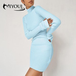 Miyouj Turtleneck с длинным рукавом вязаный свитер платье женщины осень зима тонкий одежда сплошной пуловер женщина