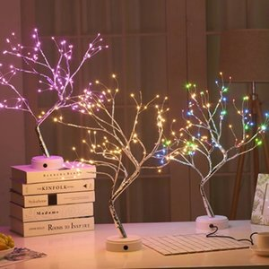 USB 3D Table-Lamp Copper Wire Christmas Fire Tree Night Light for Home Holiday Bedroom Indoor Kids Bar Decor Fairy Light