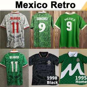 1994 Mexique N ° 9 H. Sanchez Hommes Soccer Jerseys 1999 Team National Team Retro # 11 Blanco # 15 Hernandez Home Away Football Shirts 1986 Uniformes