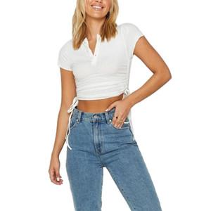 Top de cultivos para mujer de verano transpirable, Temperamento de las mujeres Color sólido con cordones de manga corta camiseta delgada camisa casual de la camisa de la base para citas