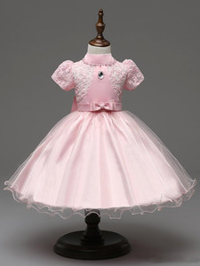 High Quality Flower Girl Dress Baby Girls Pearl Tulle Party Princess Dress Gown Formal Wedding Dresses Birthday