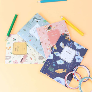 4PCS Set Cute Mini Vintage Flower Notebook Lovely Animal Notepads for Kids Gifts Korean Stationery
