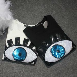 Harajuku Sequin Tshirt Women 2020 Fashion Design Short Sleeve Eyelash Cotton T-shirt Female Summer Tops Plus Size S-3xl 4xl