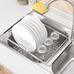 Ajustable sobre fregadero plato secado de secado acero inoxidable de acero al almacenamiento cesta titular de drenaje fruta hilos impermeables plato plato estante