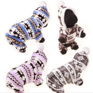 Pet Dog Clothes Apparel Small Dog Coat Hoodies Pet Puppy Fashion Winter Warm Coral Fleece Clothes Reindeer Snowflake Jacket SEA DHC4855