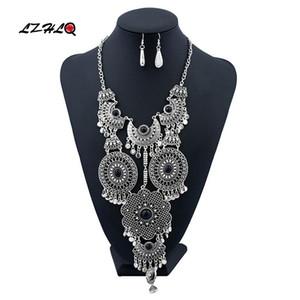 LZHLQ 2020 New Fashion Geometric Hollow Rhinestone Necklaces Multilayer Tassel Necklace Maxi Women Brand Jewelry Accessories