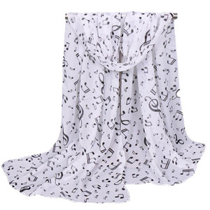 Chiffon Polyester Scarf Ladies Piano Music Note Thin Cheap Shawls G-clefs Summer Stole Head Wrap